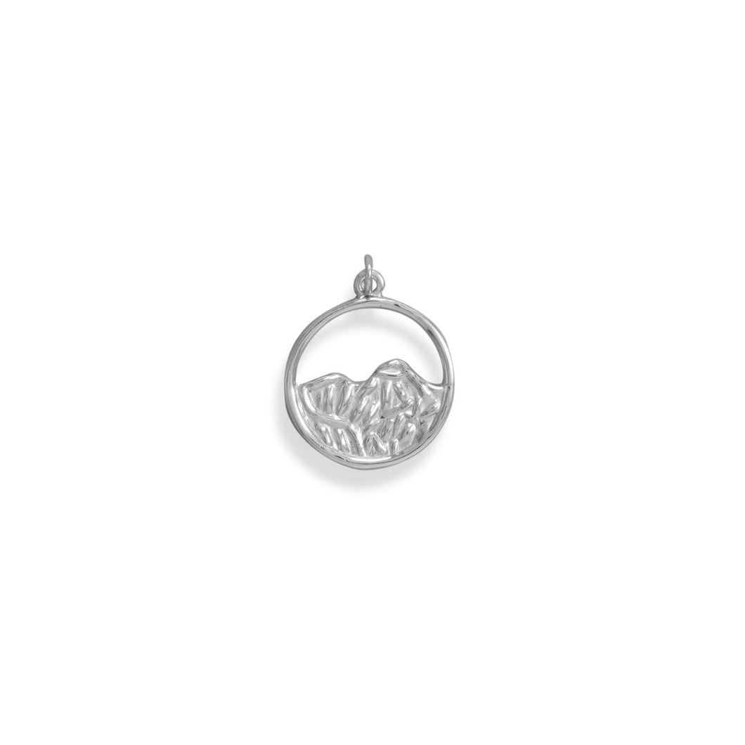Rhodium Plated Mountain Circle Pendant
