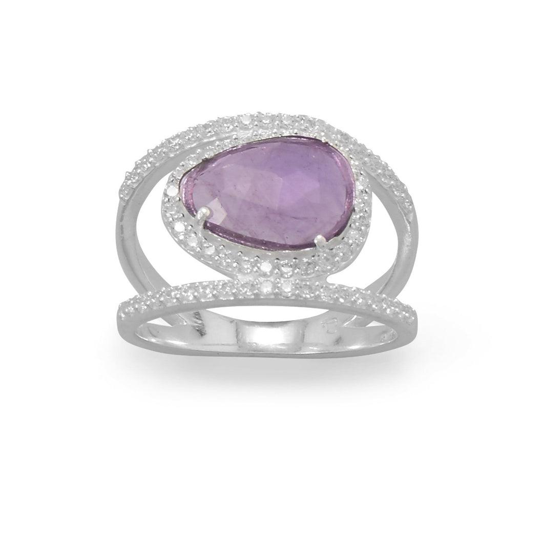 Rhodium Plated Amethyst and CZ Split Band Ring