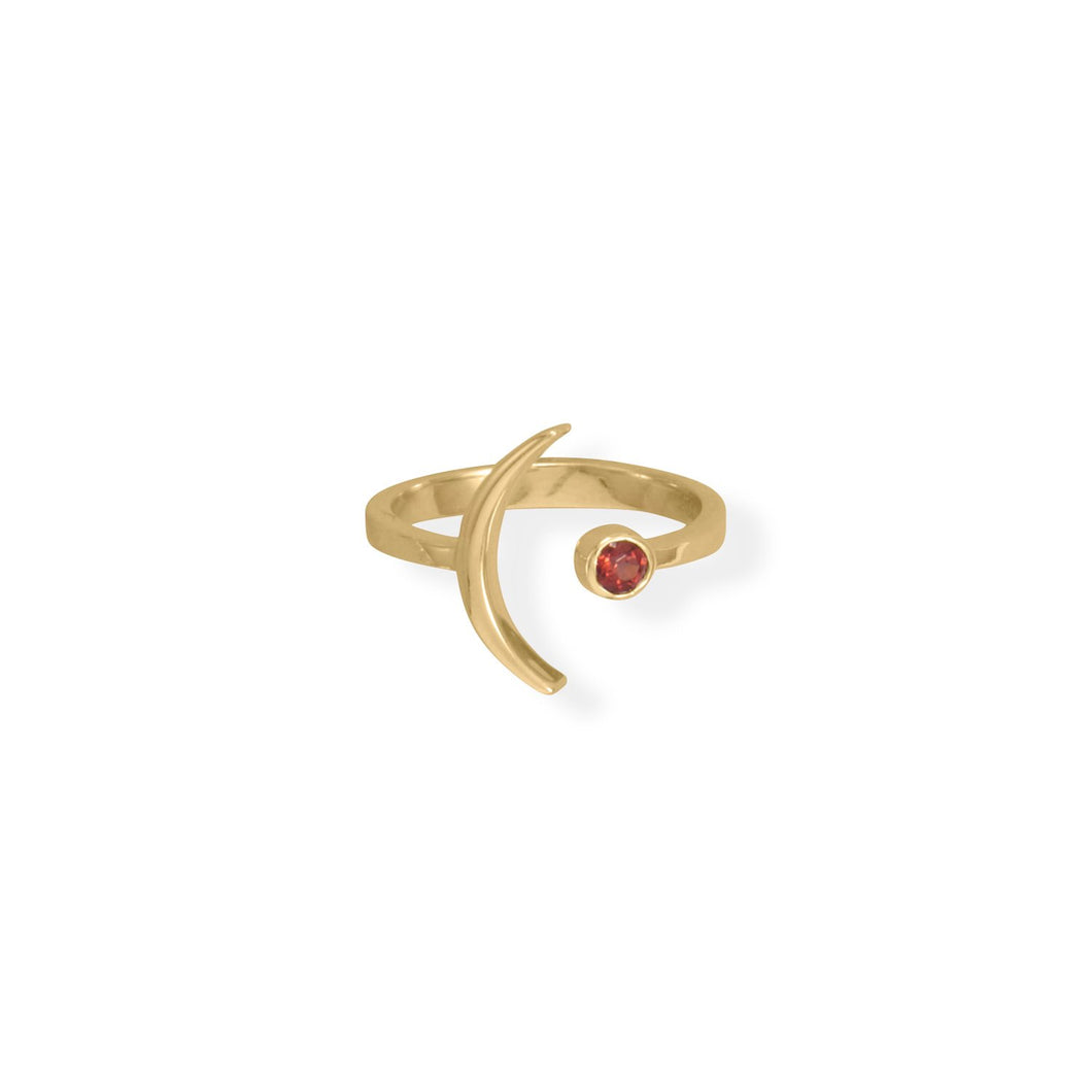 14 Karat Gold Plated Moon and Garnet Ring
