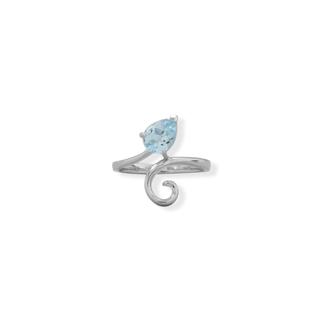 Pear Sky Blue Topaz and Swirl Ring