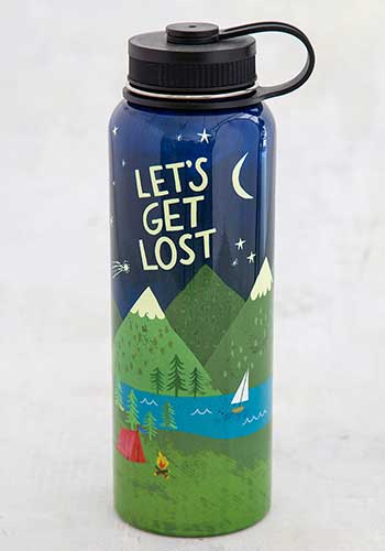 Let's Get Lost Large Water Bottle
