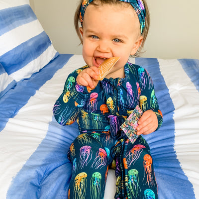 rainbow jellies bamboo zip footie with ruffles