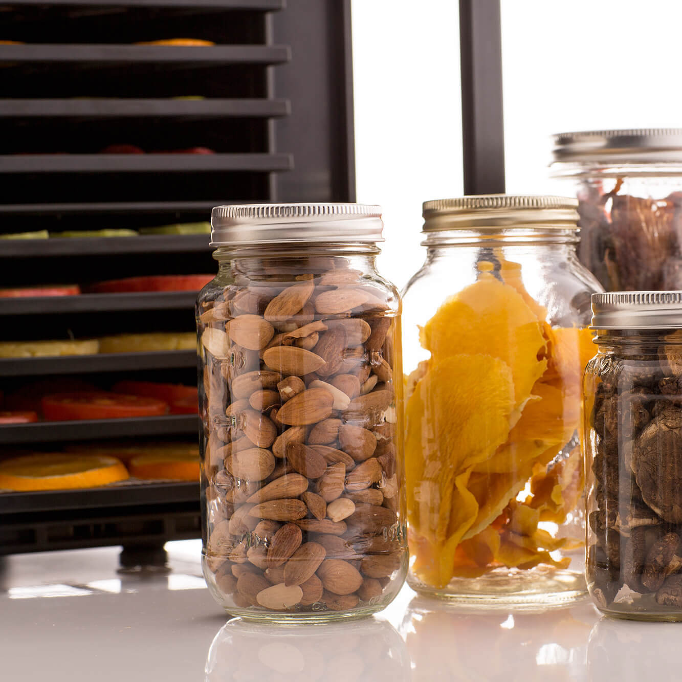 Glass jars filled with dried produce placed in front of an Excalibur RES10 dehydrator.