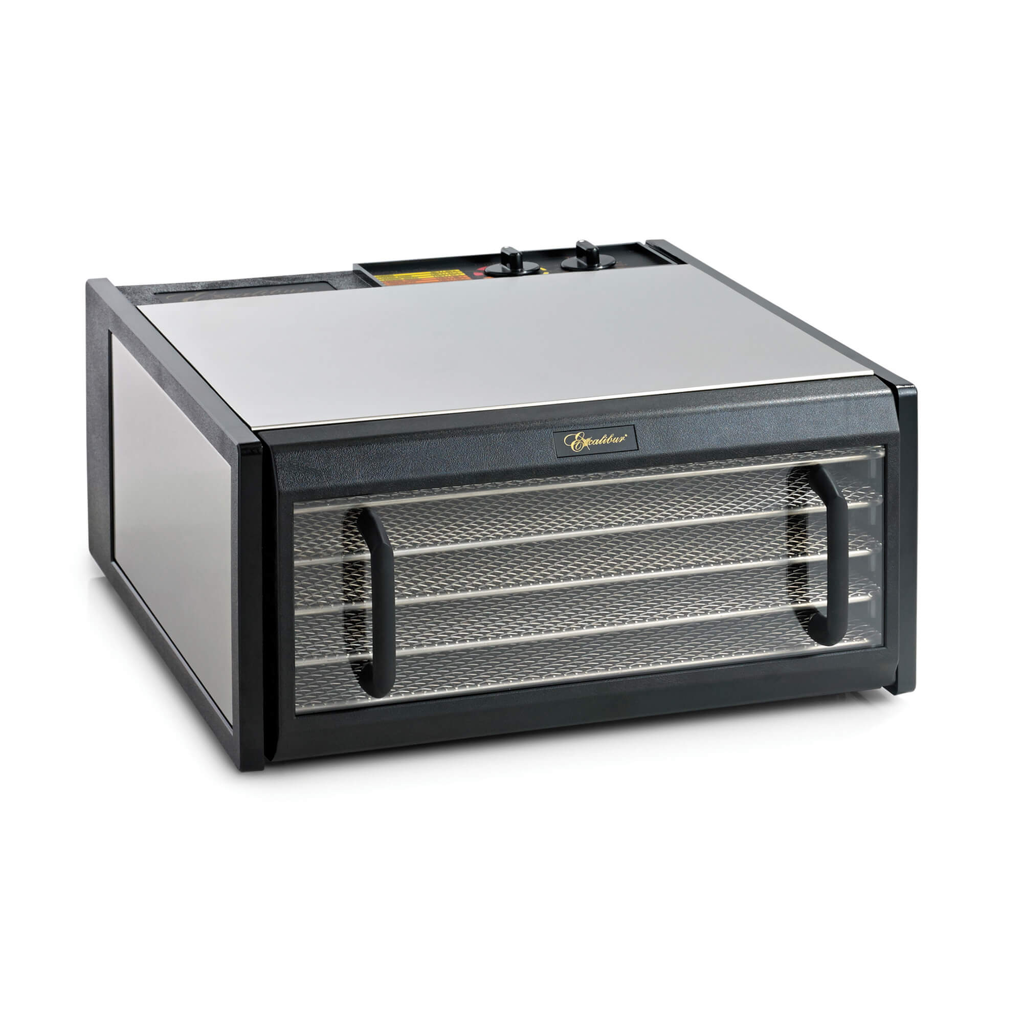 Excalibur D502CDSHD stainless steel 5 tray dehydrator with door closed.