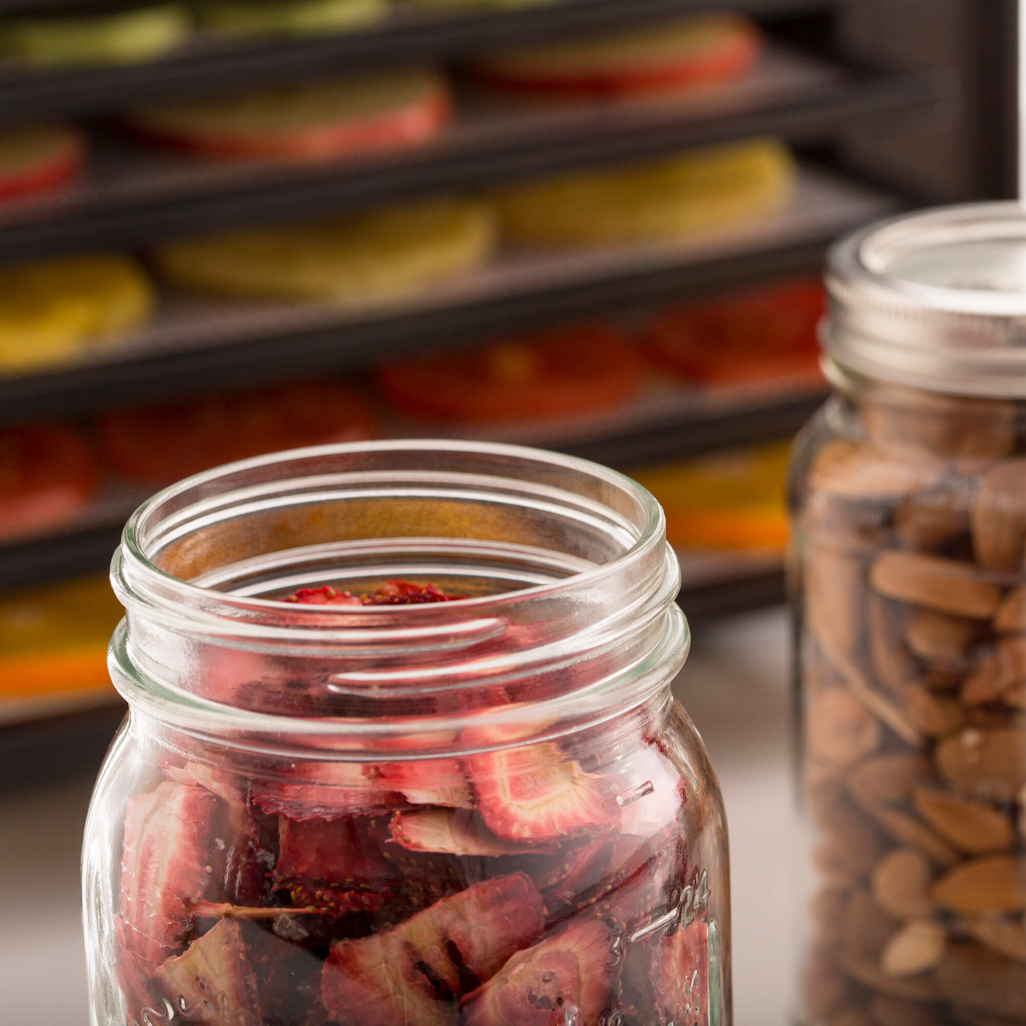 Closeup of glass jars filled with strawberries & nuts, placed in front of an Excalibur RES10 dehydrator.