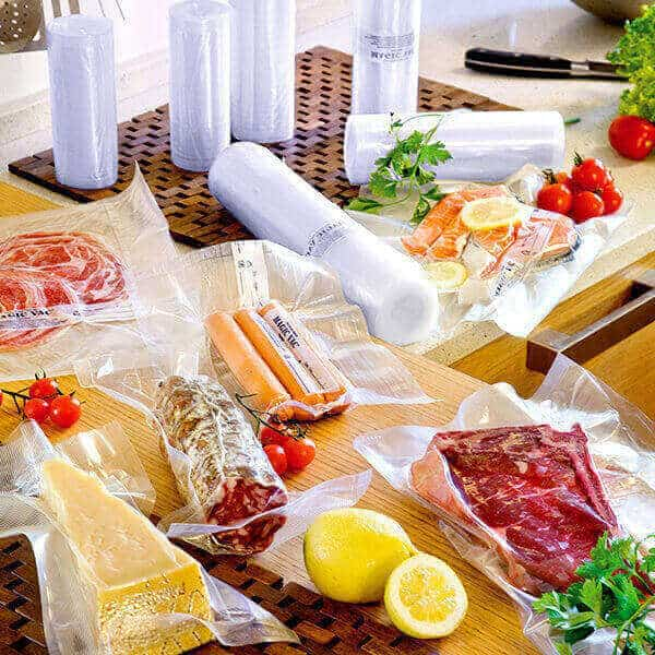 Magic Vac vacuum packing bags filled with a variety of food.