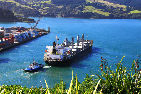 Container ship at port of New Zealand.