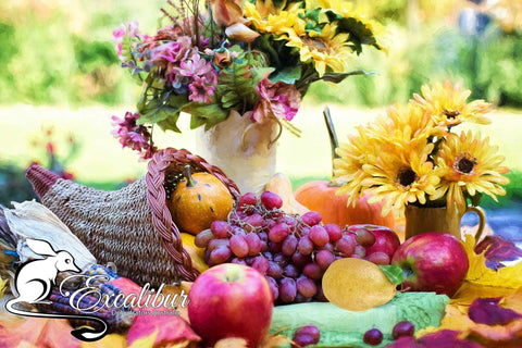 THANKFUL & BLESSED - a Cornucopia of foods and flowers.