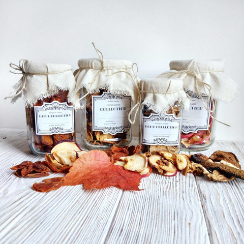 Dehydrated food in storage jars.