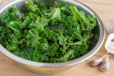 Kale leaves in a bowl.