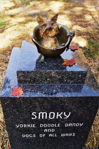 A  life-size a bronze sculpture of Smoky sitting in a GI helmet was installed over her final resting place in Rocky River Ohio, setting atop a two-ton blue granite base.