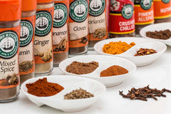 A selection of spices in jars.