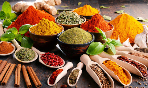 Variety of spices. Use side dishes, sauces and condiments, emphasising a particular taste you may crave.