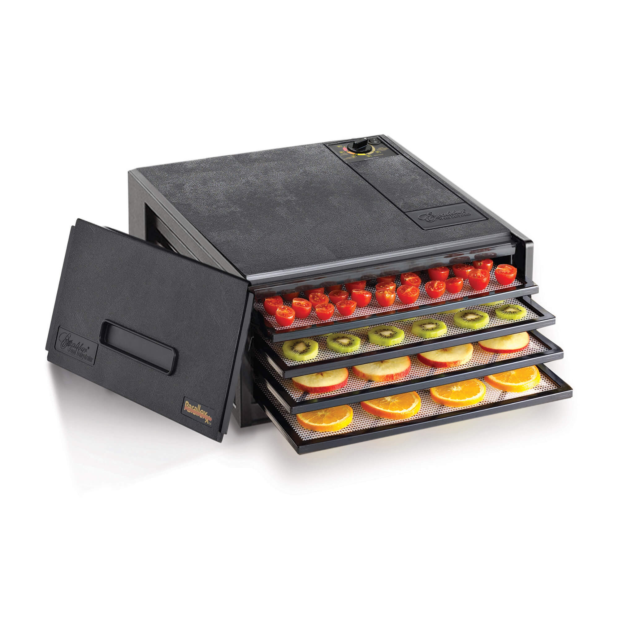 Excalibur 4400 4 tray compact dehydrator with door propped to the side and food on the trays.