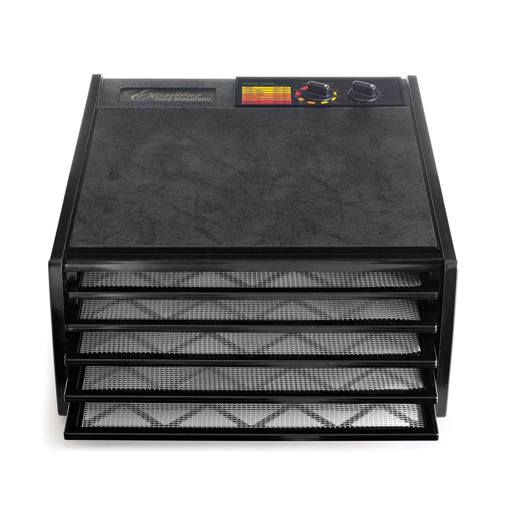 Excalibur 4526T 5 tray dehydrator with trays pulled out.