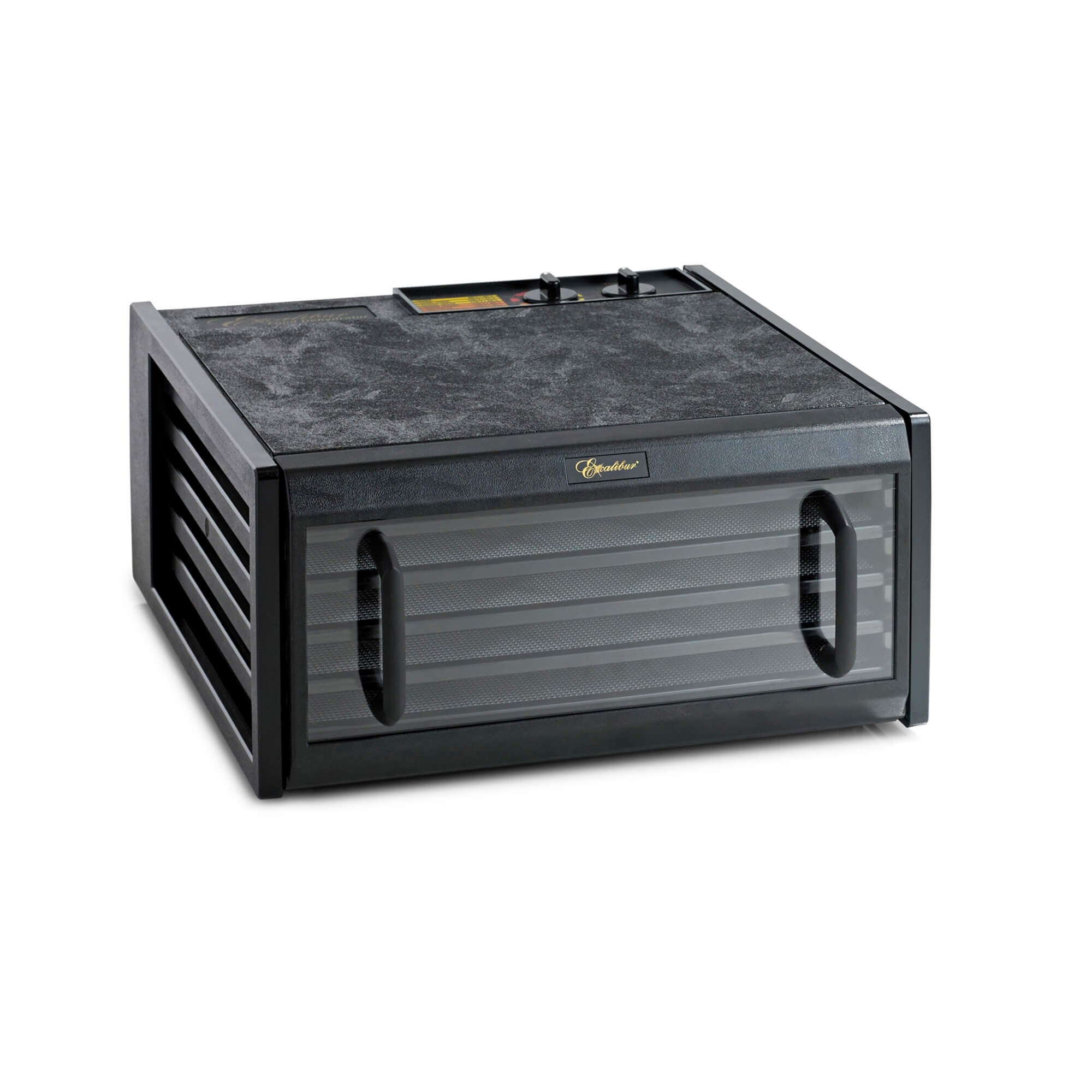 Excalibur 4526TCDB 5 tray dehydrator with clear door closed.