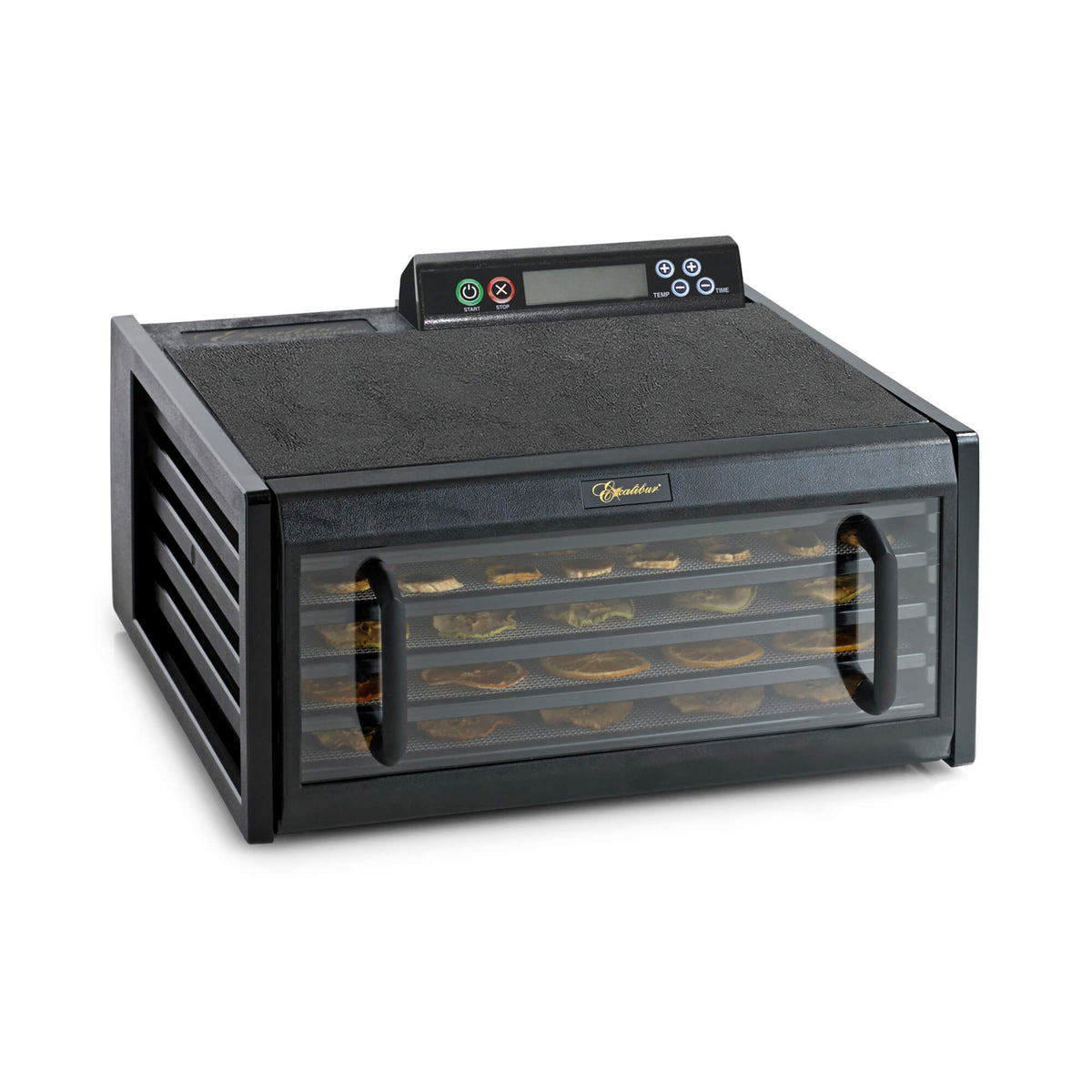 Excalibur 4548CDB 5 tray digital dehydrator with clear door closed and food on the trays.
