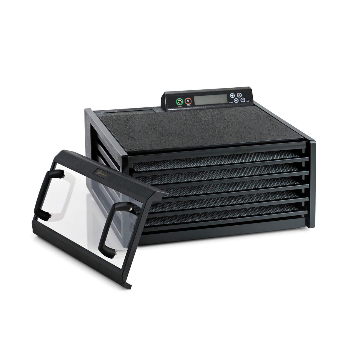 Excalibur 4548CDB 5 tray digital dehydrator with clear door propped to the side and trays in.