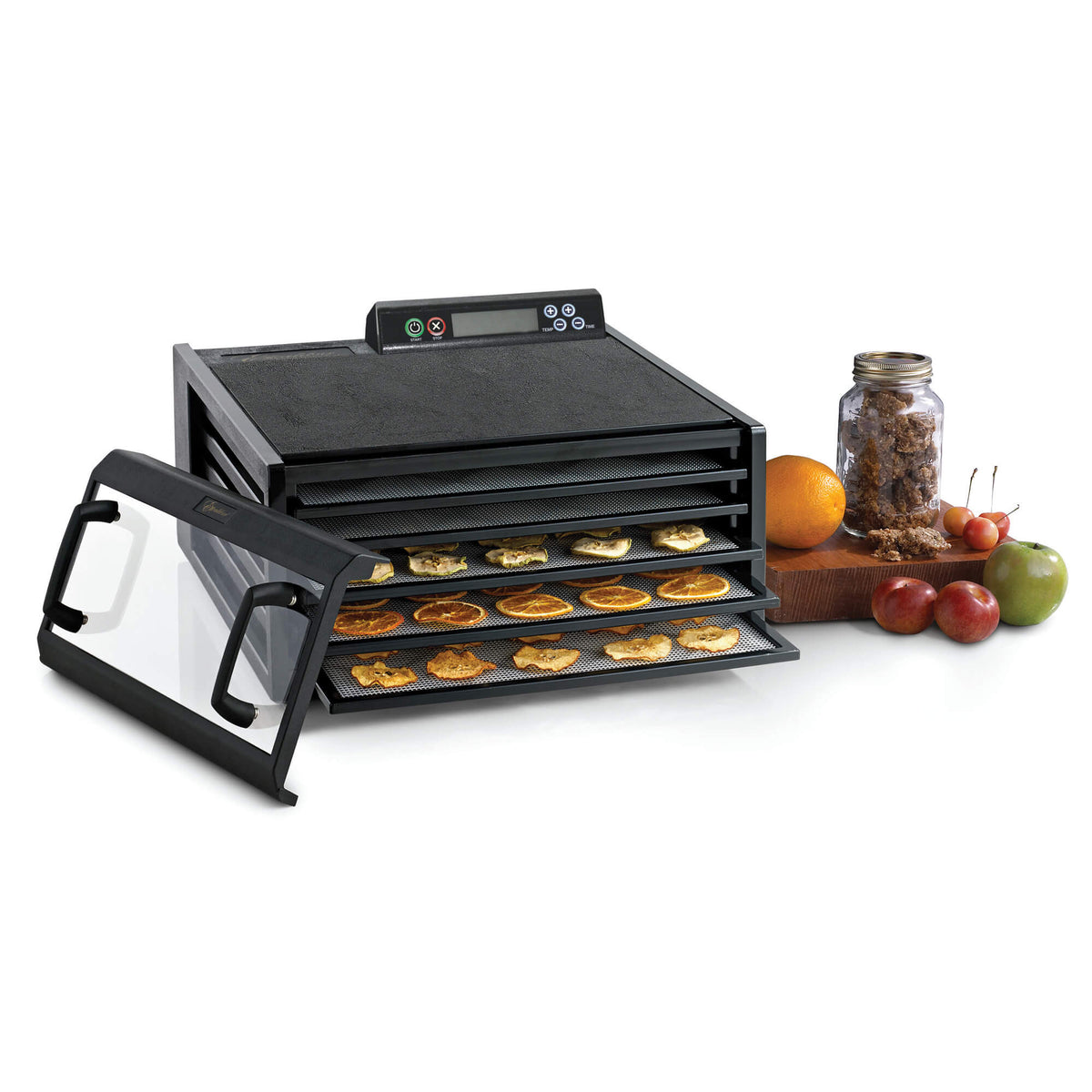 Excalibur 4548CDB 5 tray digital dehydrator with clear door propped to the side and food on the trays.