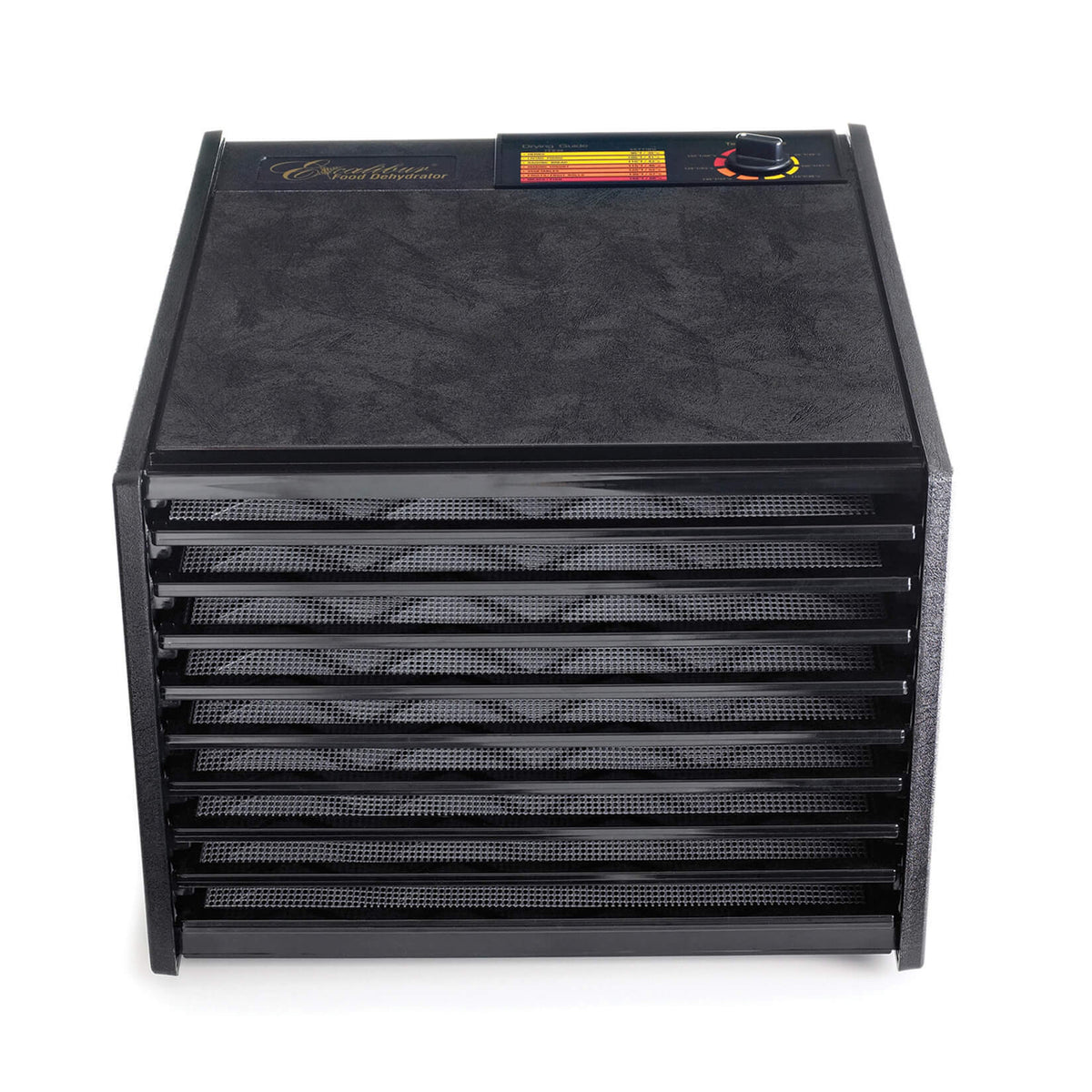 Excalibur 4900B 9 tray dehydrator front view with trays in.