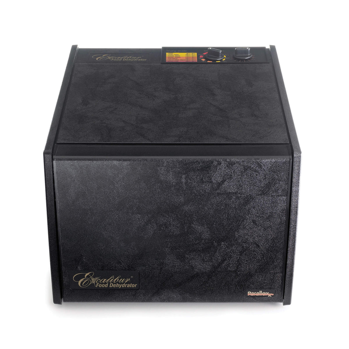 Excalibur 4926TB black 9 tray dehydrator front view with door closed.