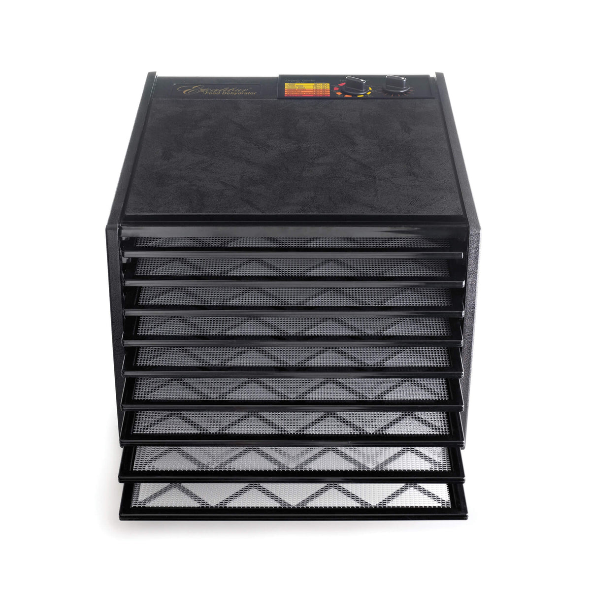 Excalibur 4926TB black 9 tray dehydrator front view with door open and trays pulled out.