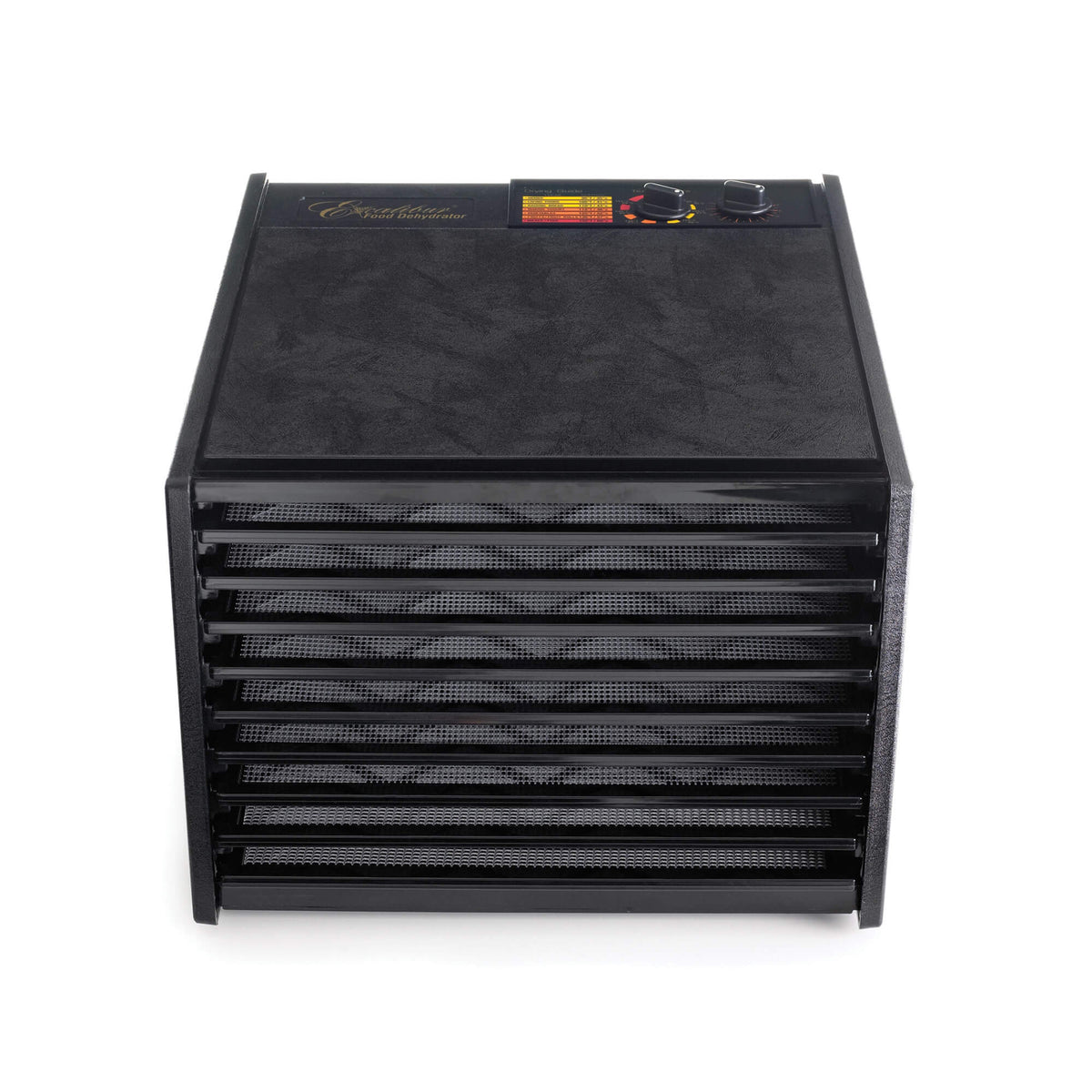 Excalibur 4926TB black 9 tray dehydrator front view with door open and trays in.
