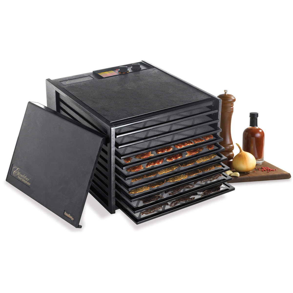 Excalibur 4926TB black 9 tray dehydrator with door propped to the side and jerky on the trays.