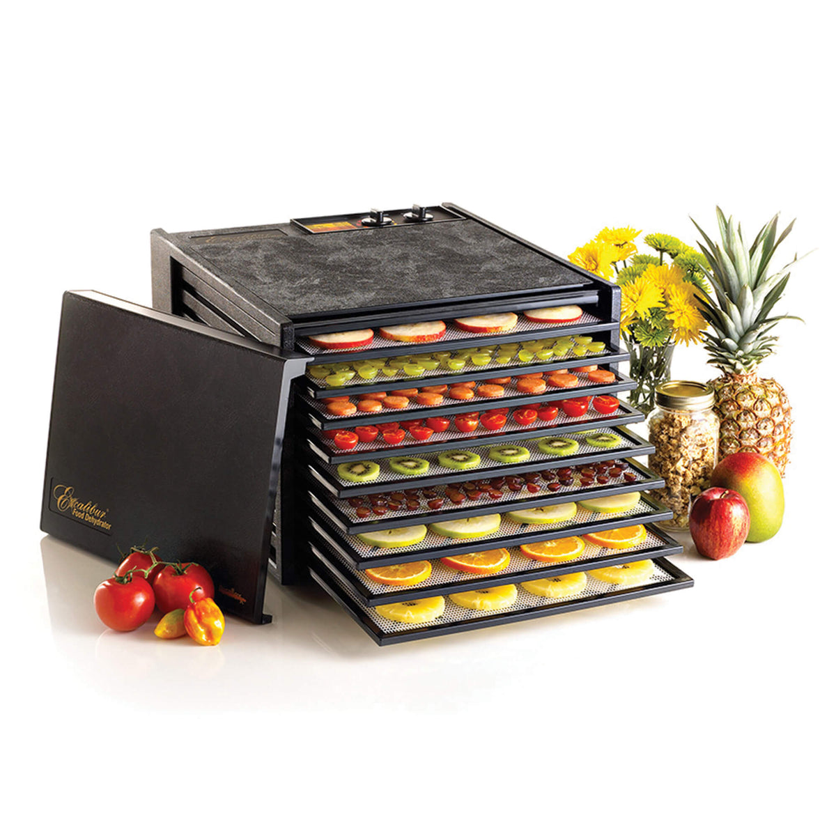 Excalibur 4926TB black 9 tray dehydrator with door propped to the side and food on the trays.