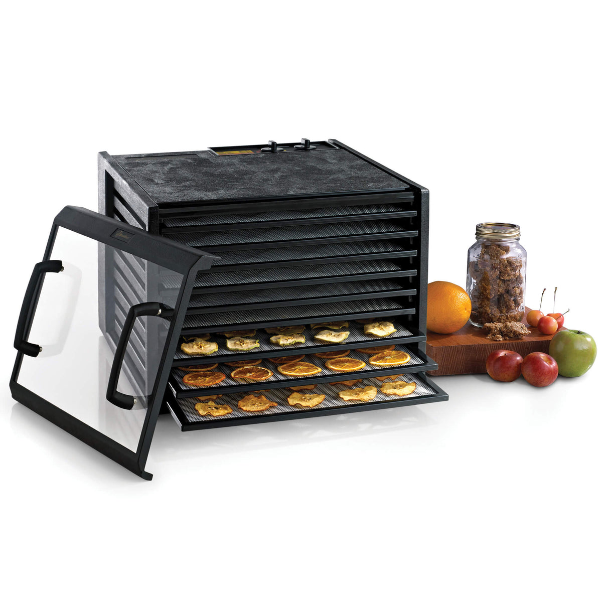 Excalibur 4926TCDB 9 tray dehydrator with clear door propped to the side and food on the trays.