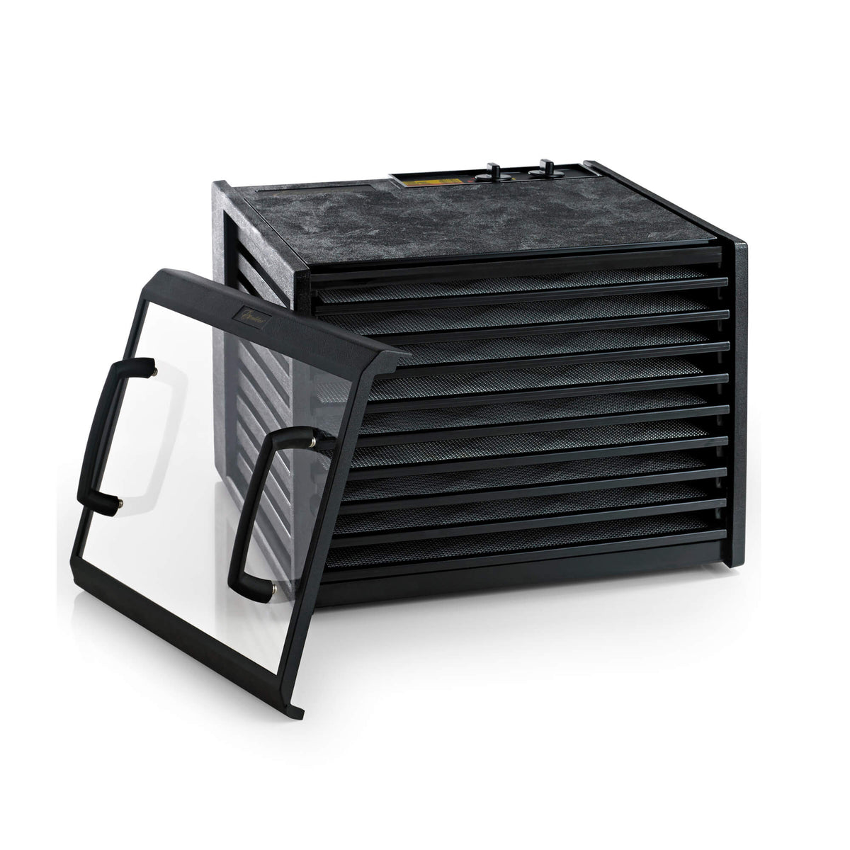 Excalibur 4926TCDB 9 tray dehydrator with clear door propped to the side and trays in.