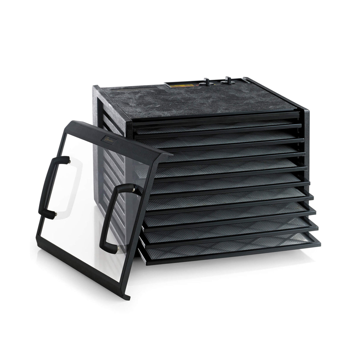 Excalibur 4926TCDB 9 tray dehydrator with clear door propped to the side and trays pulled out.