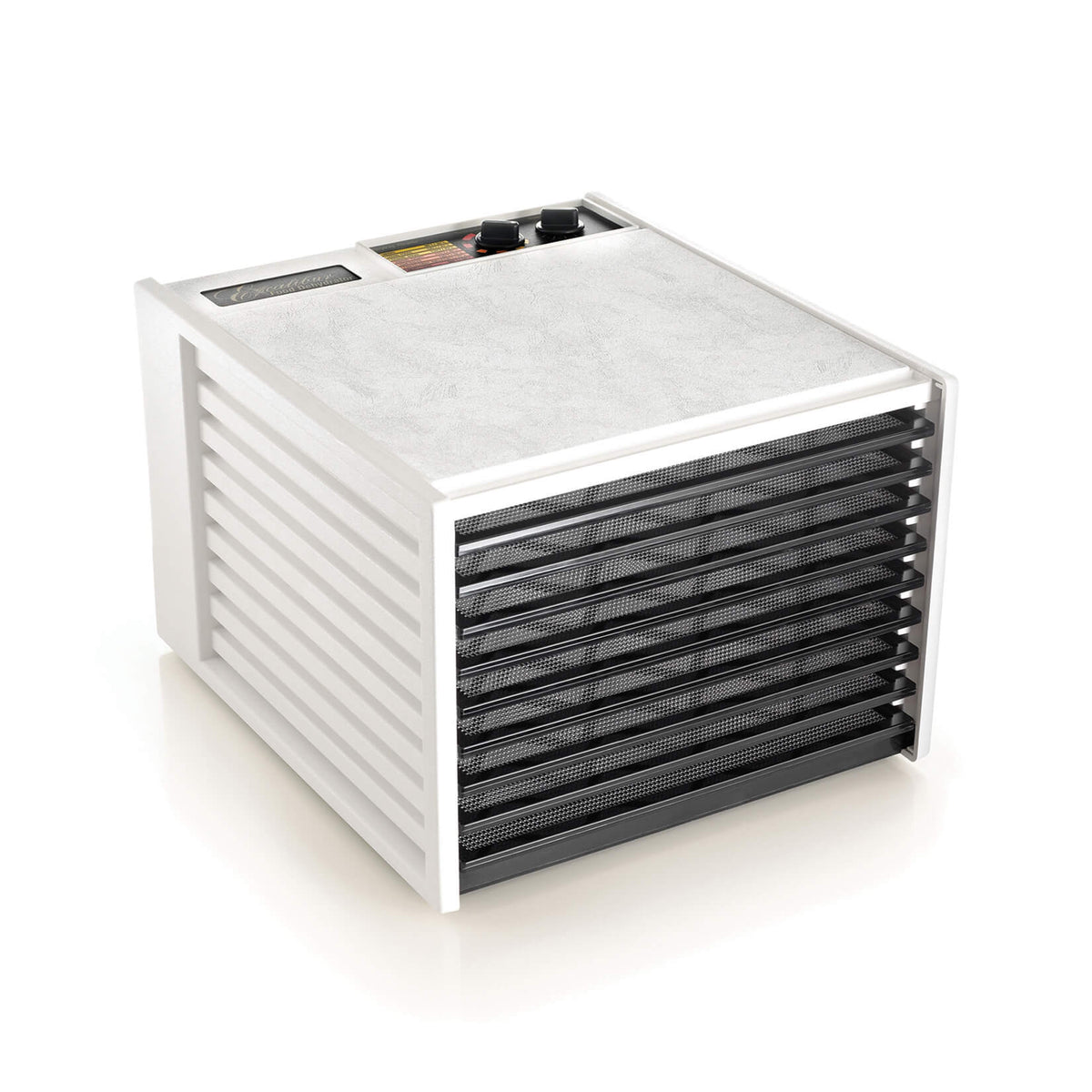 Excalibur 4926TW white 9 tray dehydrator with door open and trays in.