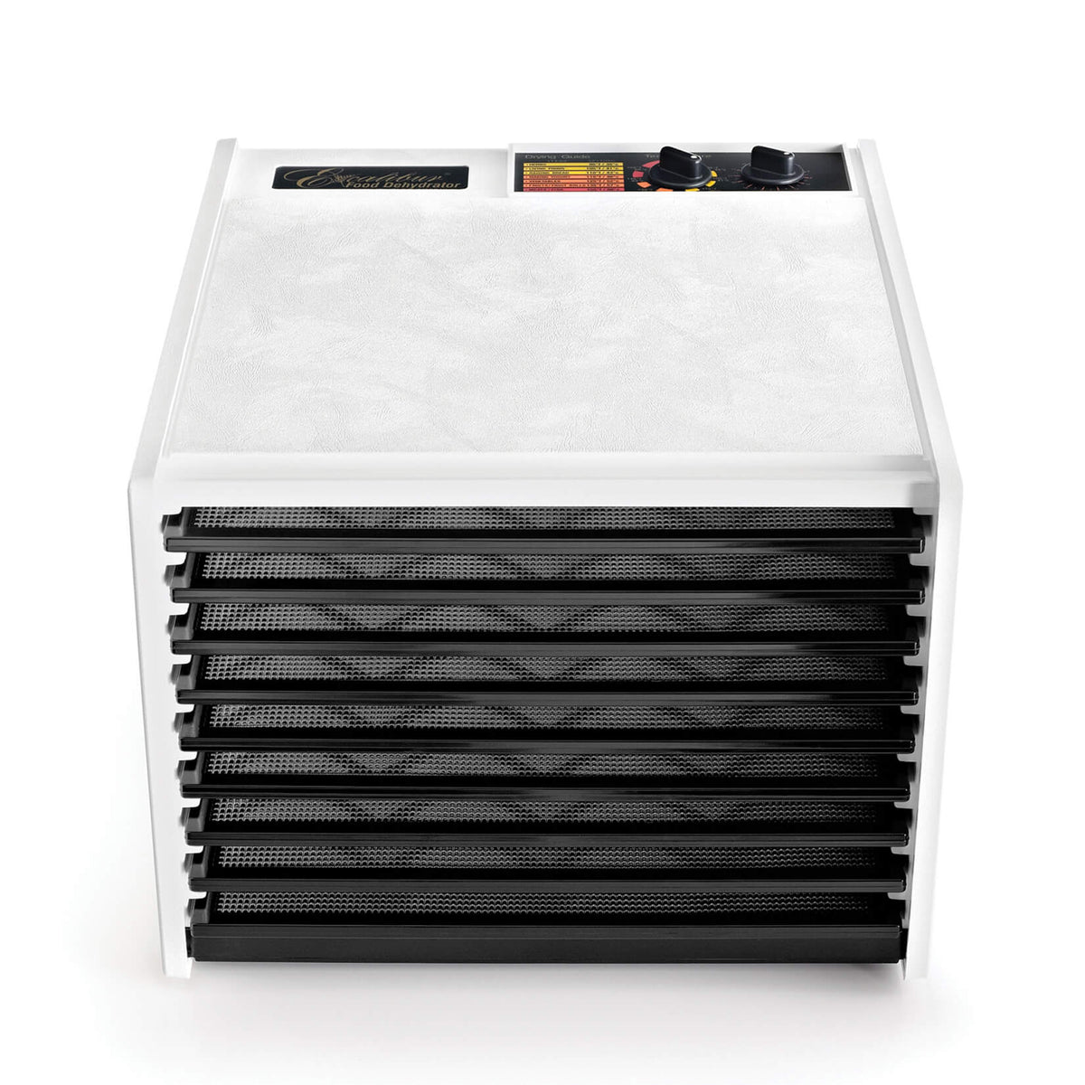 Excalibur 4926TW white 9 tray dehydrator front view with door open and trays in.