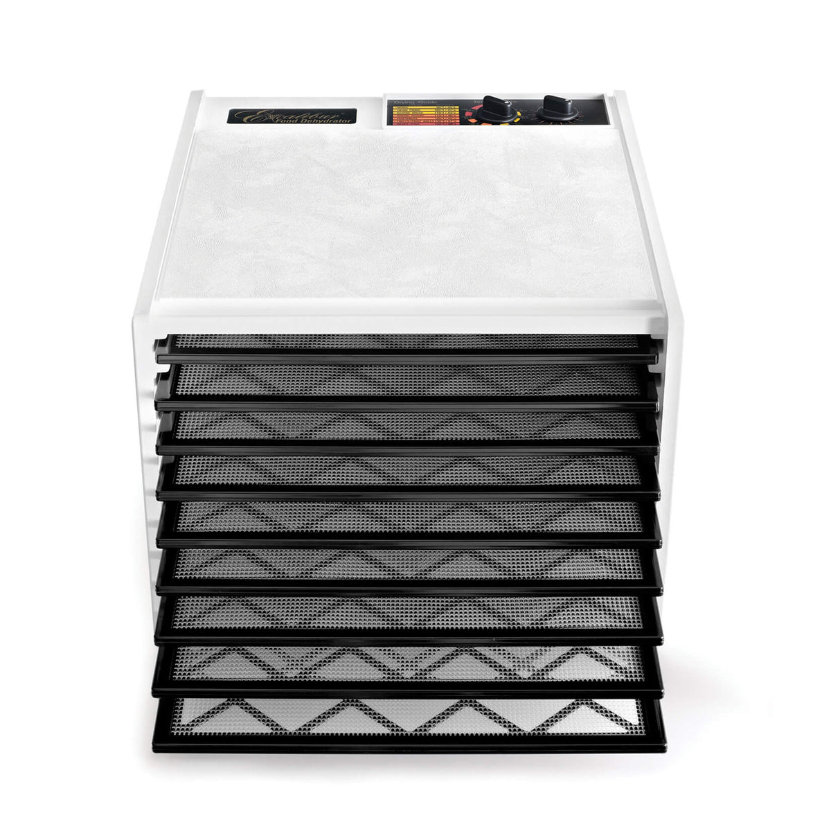 Excalibur 4926TW white 9 tray dehydrator front view with door open and trays pulled out.