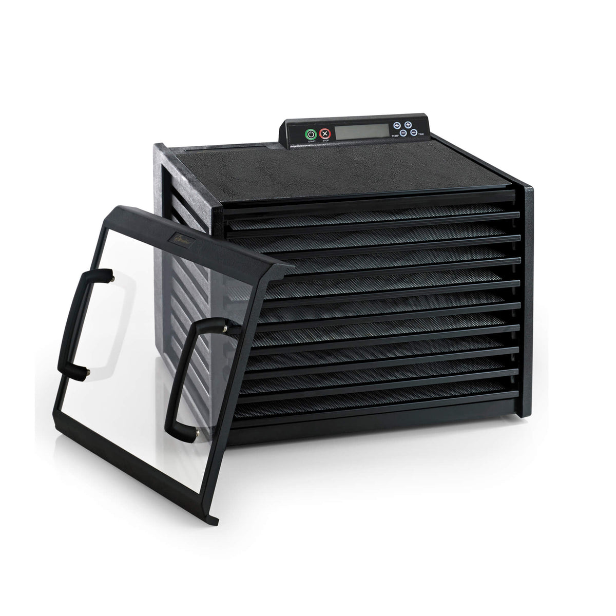 Excalibur 4948CDB 9 tray digital dehydrator with clear door propped to the side and trays in.