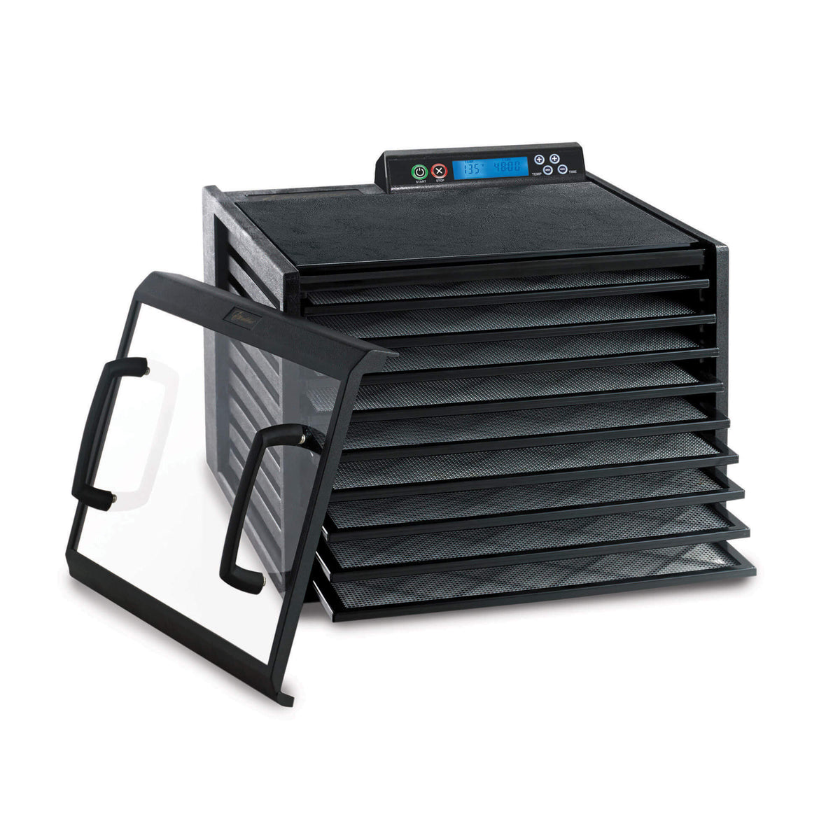 Excalibur 4948CDB 9 tray digital dehydrator with clear door propped to the isde and trays pulled out.