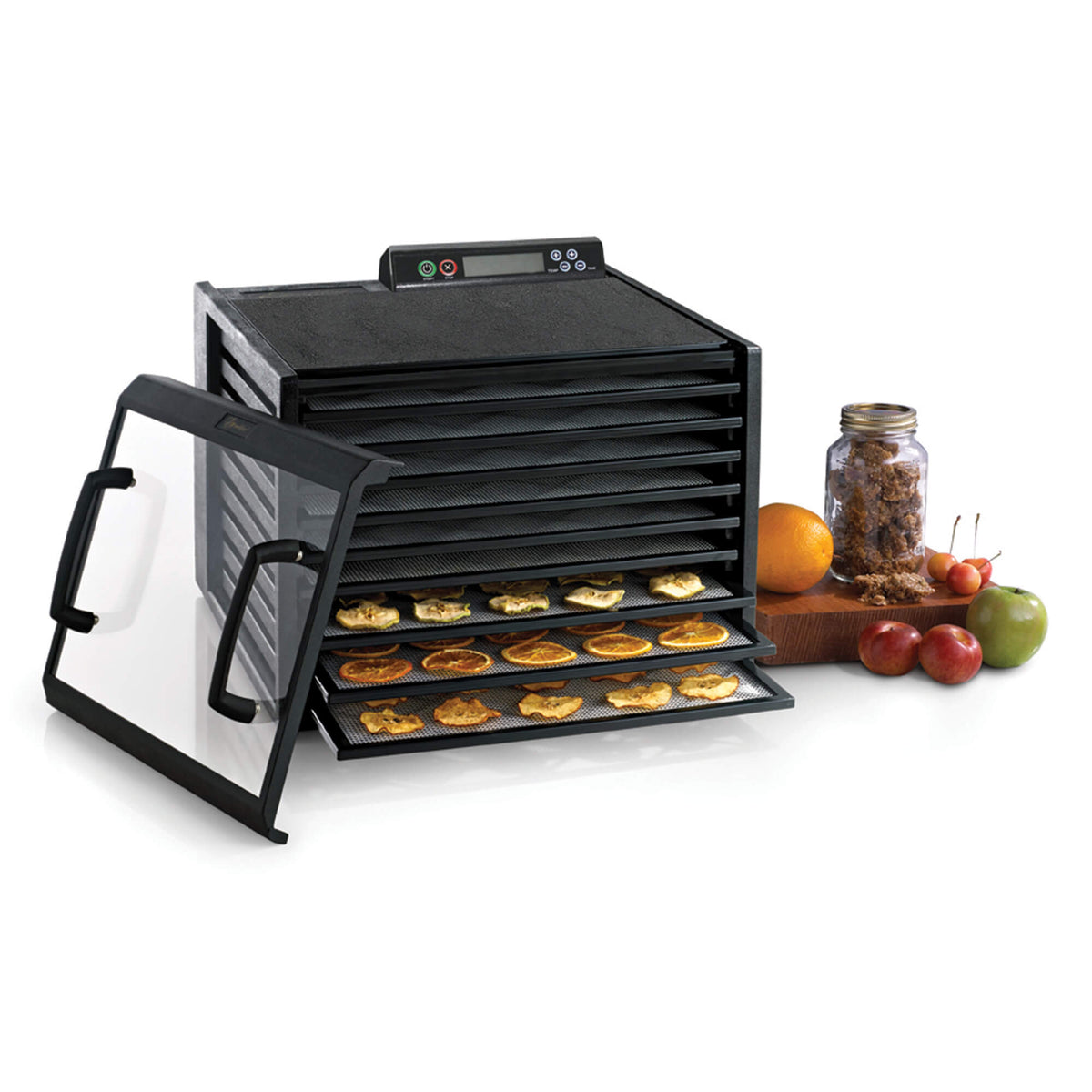 Excalibur 4948CDB 9 tray digital dehydrator with clear door propped to the side and food on the trays.