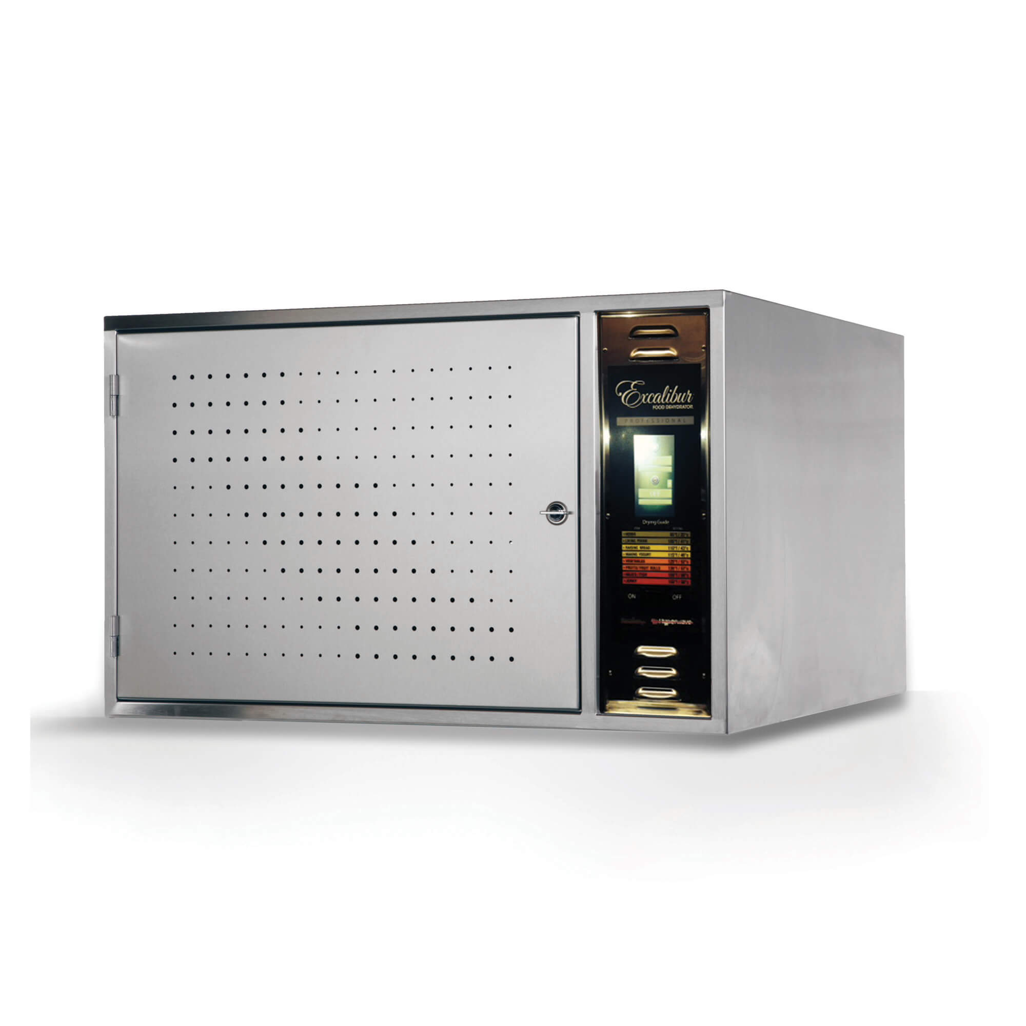Excalibur COMM1 12 tray stainless steel commercial digital dehydrator with door closed.