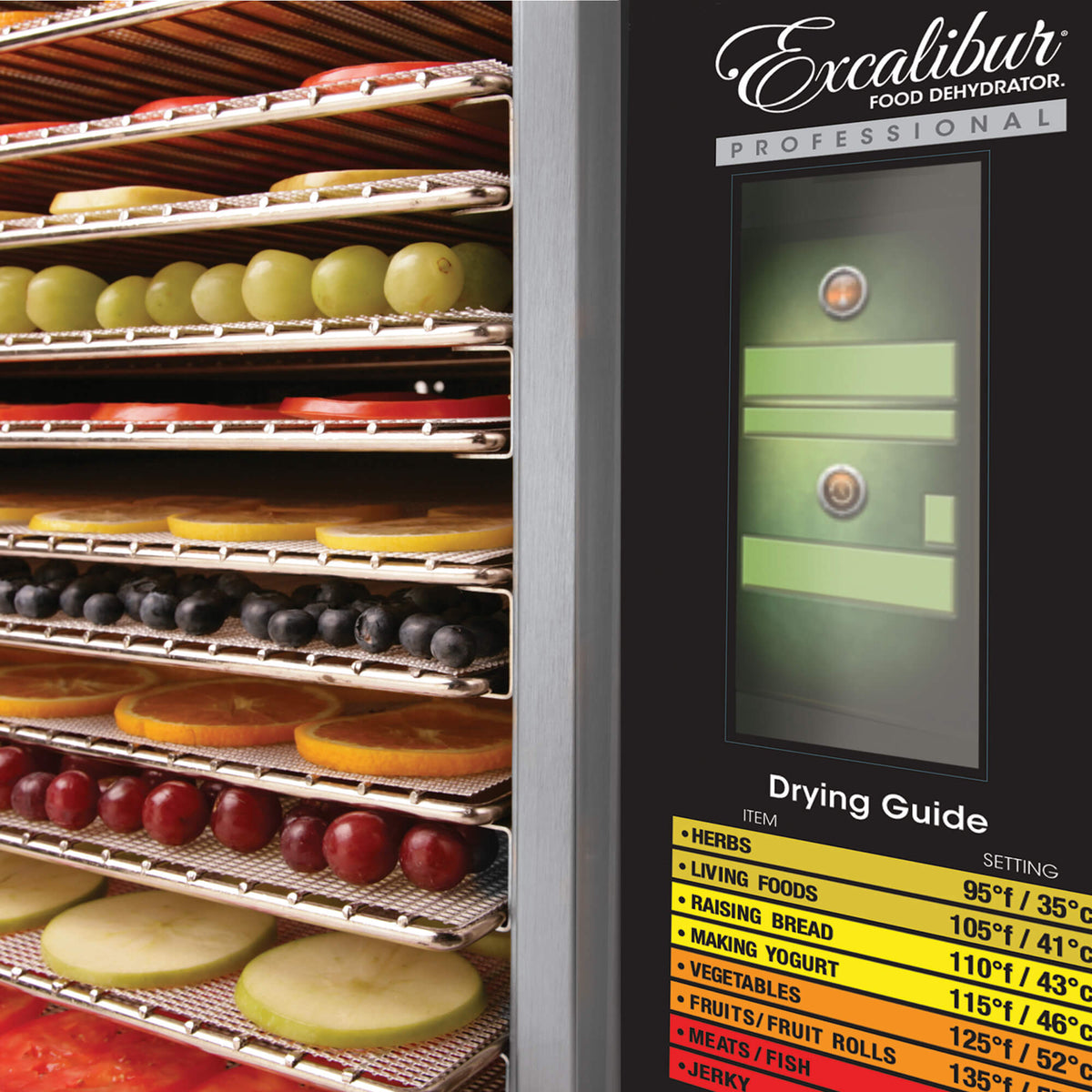 Excalibur COMM1 12 tray stainless steel commercial digital dehydrator control panel with food on the trays.