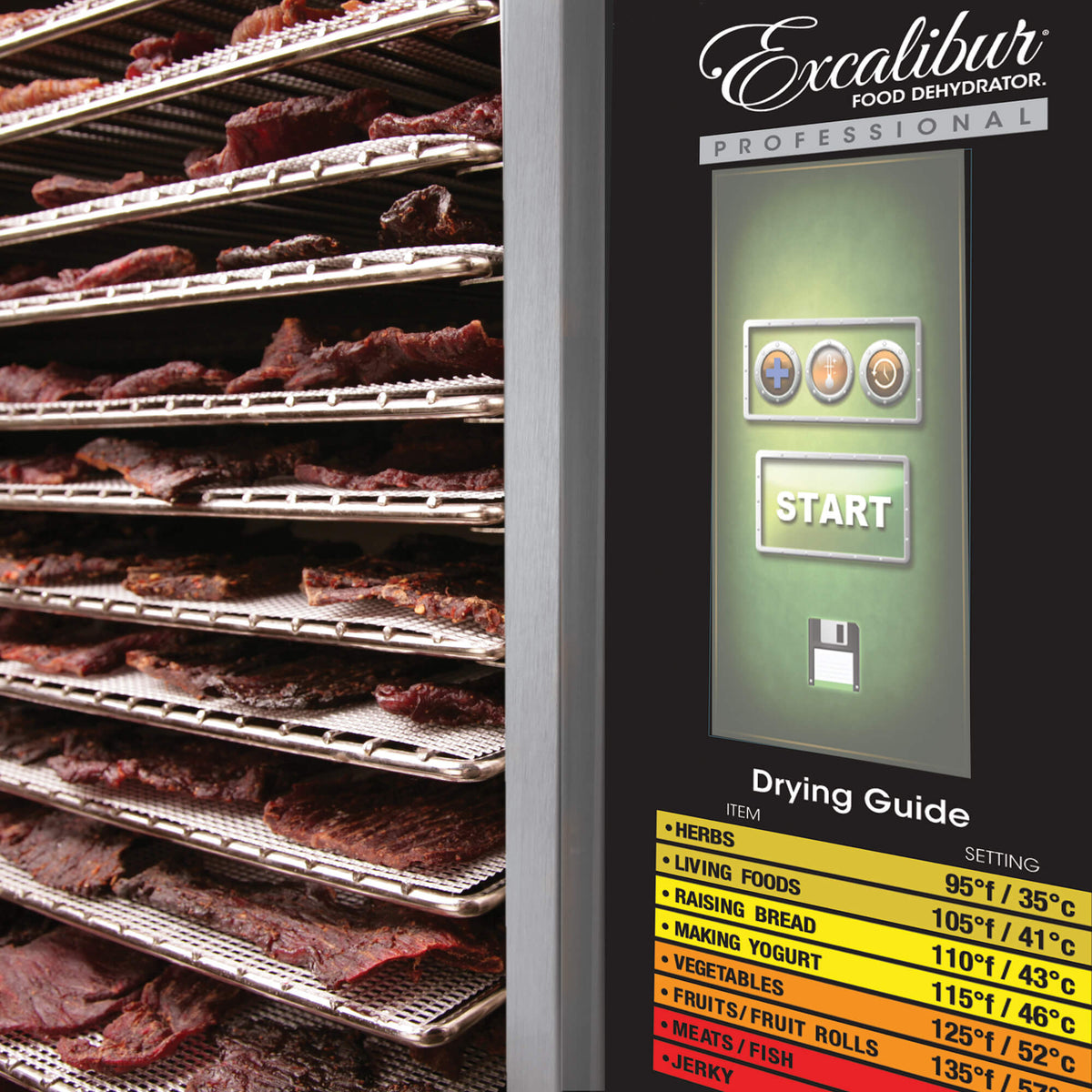 Excalibur COMM1 12 tray stainless steel commercial digital dehydrator control panel with jerky on the trays.