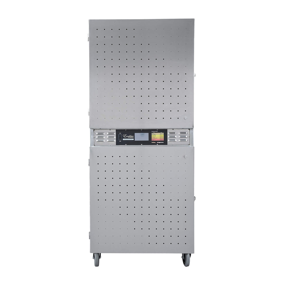 Excalibur COMM2 42 tray stainless steel commercial digital dehydrator front view with doors closed.