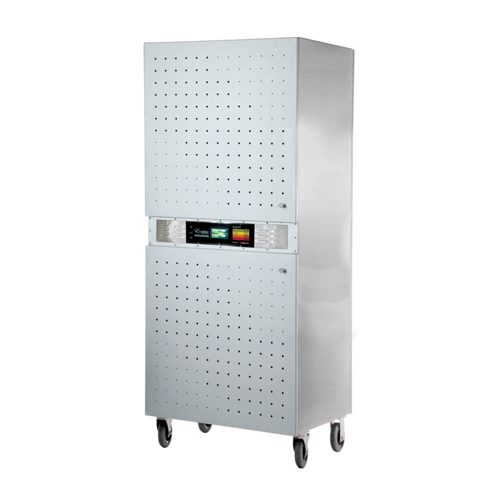 Excalibur COMM2 42 tray stainless steel commercial digital dehydrator with doors closed.