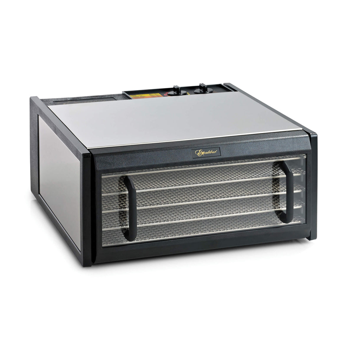 Excalibur D502CDSHD 5 tray stainless steel dehydrator with clear door closed.