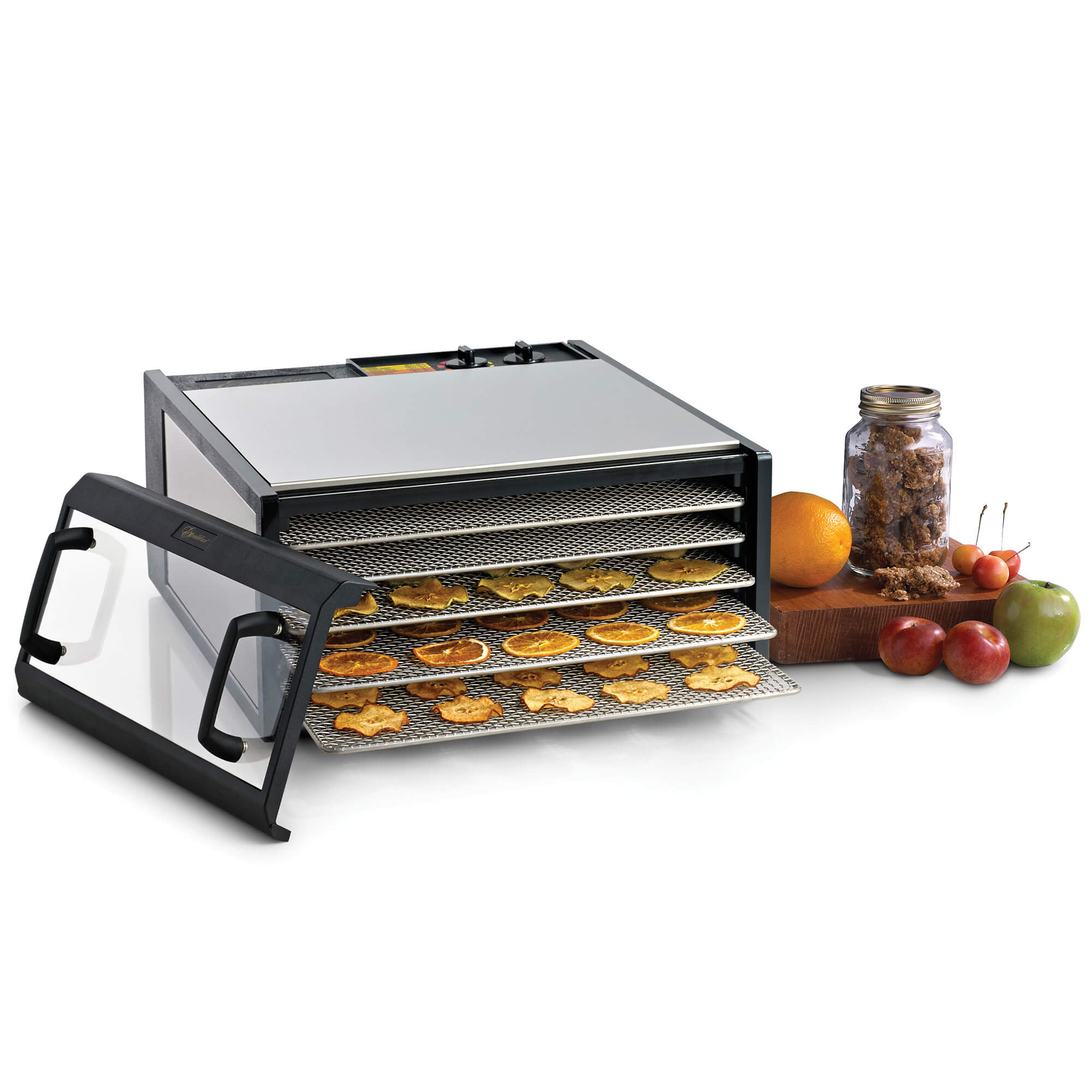 Excalibur D502CDSHD 5 tray stainless steel dehydrator with clear door propped to the side and food on the trays.