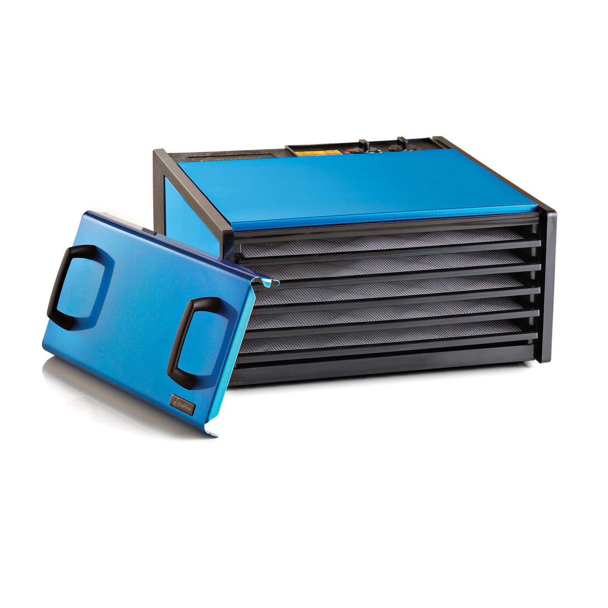Excalibur D502RB Radiant Blueberry 5 tray stainless steel dehydrator with door propped to the side and trays in.