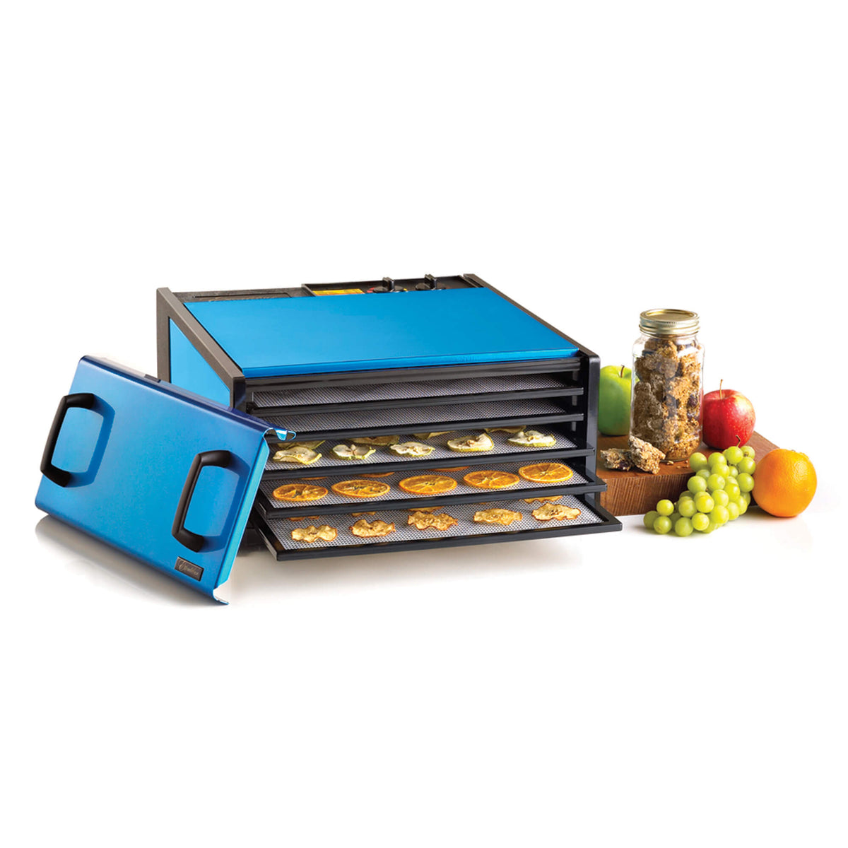 Excalibur D502RB Radiant Blueberry 5 tray stainless steel dehydrator with door propped to the side and food on the trays.