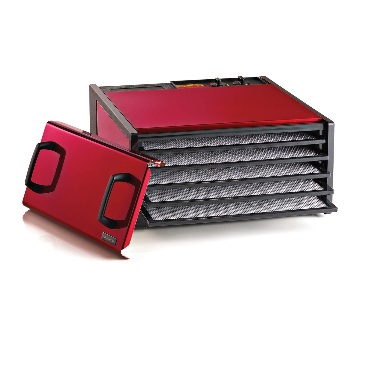Excalibur D502RC Radiant Cherry 5 tray stainless steel dehydrator with door propped to the side and trays pulled out.