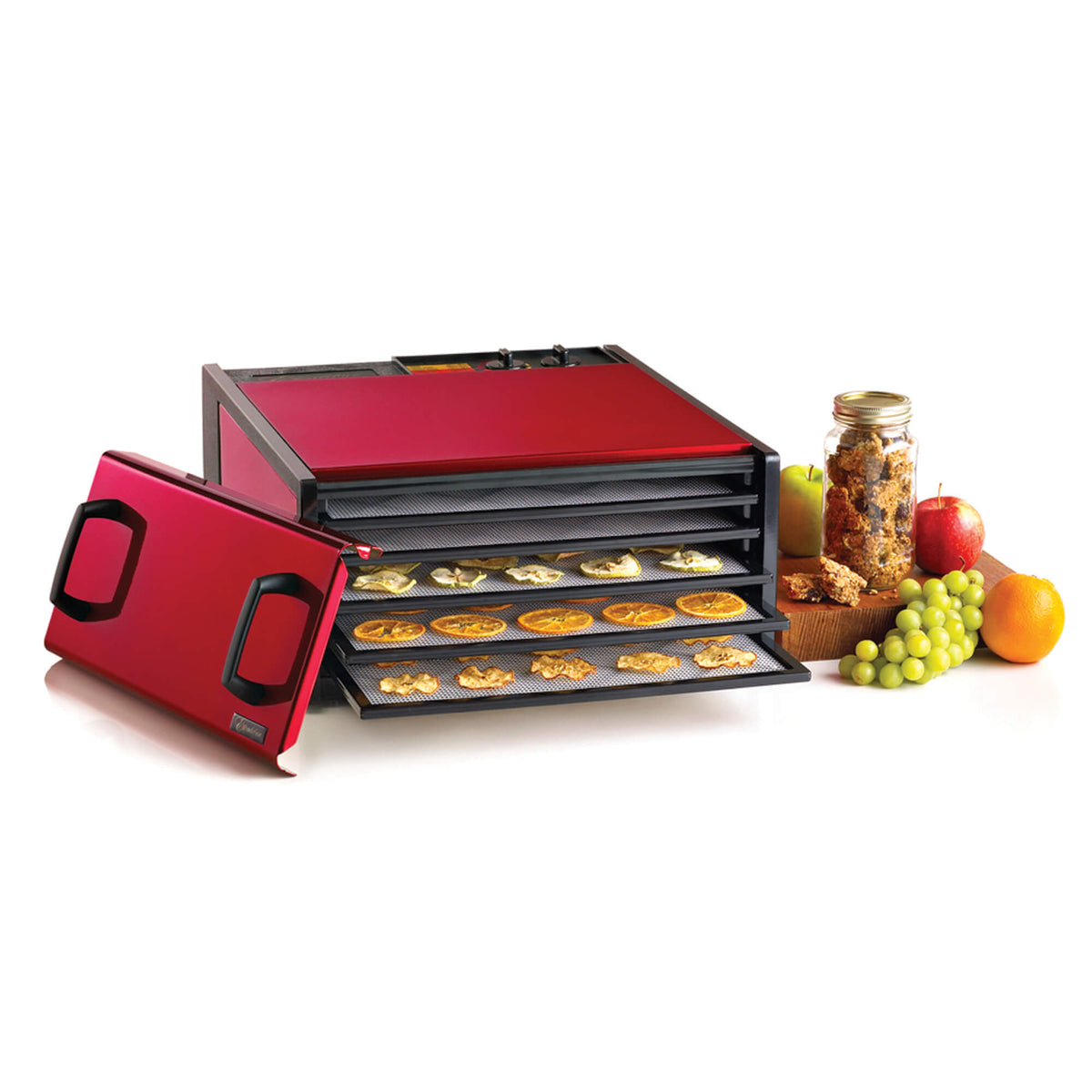 Excalibur D502RC Radiant Cherry 5 tray stainless steel dehydrator with door propped to the side and food on the trays.
