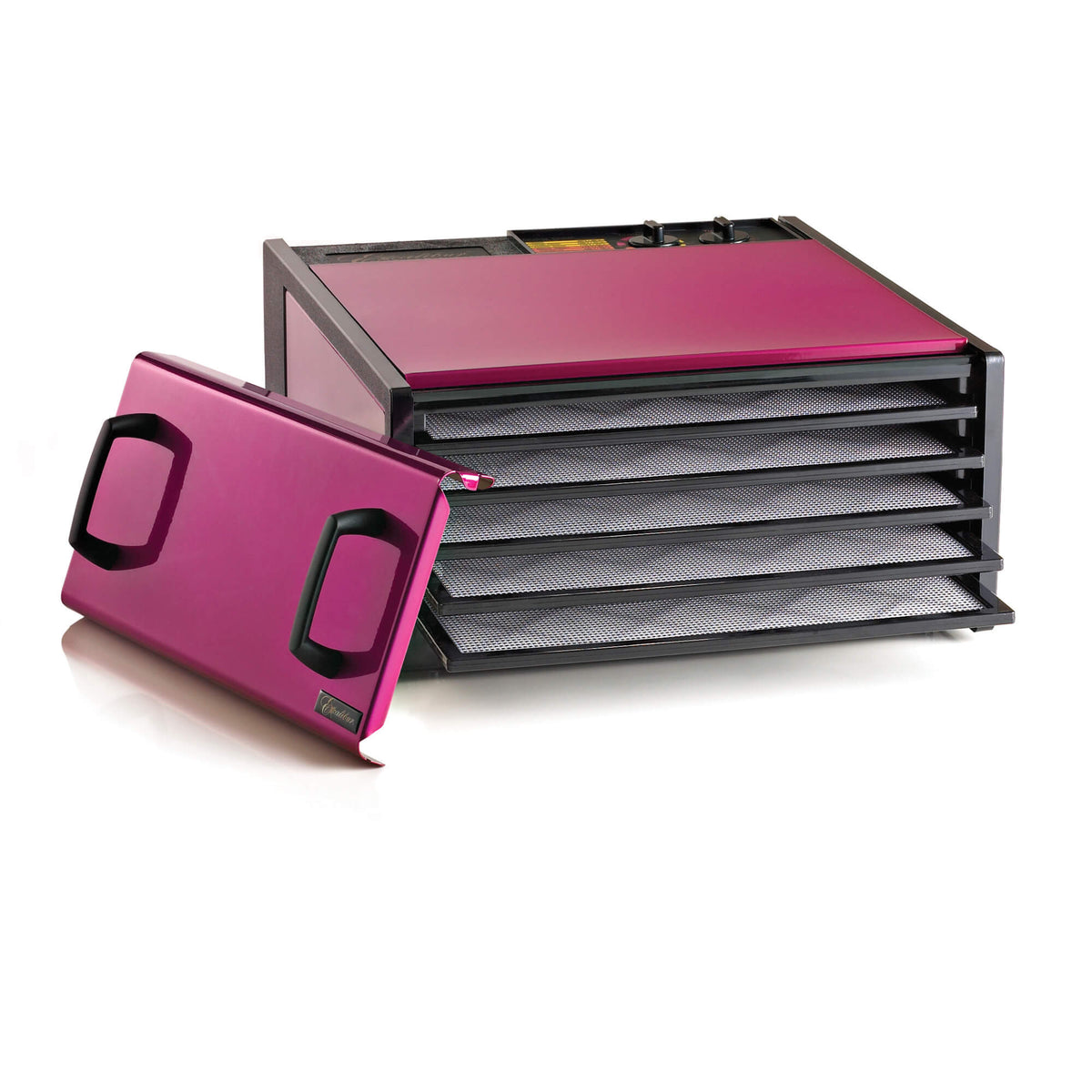 Excalibur D502RR Radiant Raspberry 5 tray stainless steel dehydrator with door propped to the side and trays pulled out.